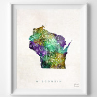 Wisconsin Map, Madison Poster, Watercolor, Painting, Nursery, Room, Home Town, Wall Art, USA, United States, Decor, Gift [NO 386]
