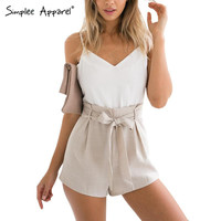 Simplee Apparel Summer 2016 white elegant jumpsuit romper Women bow one piece casual playsuit Sexy backless short overalls girls