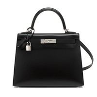X Stamp Unicorn Hermes Black Box Kelly 28cm Shoulder Bag Palladium PRISTINE NEW
