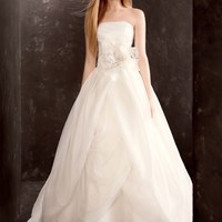 Organza Gown with Draped Bodice and Tulle Skirt - David's Bridal- mobile