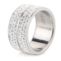 Sterling Silver Platinum Plated Crystal Ring Classic Jewelry Wedding Love Engagement