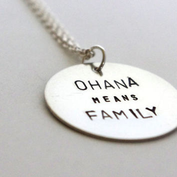 Stamped Metal Necklace - Ohana Quote