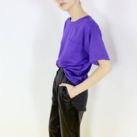 BASIC shirt oversized shirt purple t-shirt boxy top shirt loose fit shirt minimalist style os