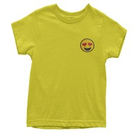 Embroidered Heart Eyes Emoticon Patch (Pocket Print) Youth T-shirt