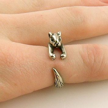 Animal Wrap Ring - Squirrel / Chipmunk - White Bronze - Adjustable Ring - keja jewelry