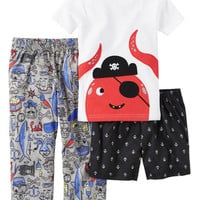 3-Piece Cotton & Jersey PJs