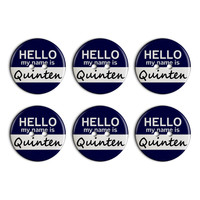 Quinten Hello My Name Is Plastic Resin Button Set of 6
