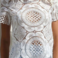 White Short Sleeved Floral Sheer Lace Top