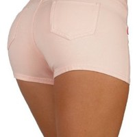 Basic Short Shorts Premium Stretch French Terry Moleton With a gentle butt lifting stitching in Peach Size L
