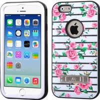 """MEGATRONIC Pink Fresh Roses/Black Dual Layer Hybrid Hard Skin Protector With Metal Stand Case cover Skin for APPLE Iphone 6 4.7 4.7"""" 6th Generation W/ Free Stylus"""