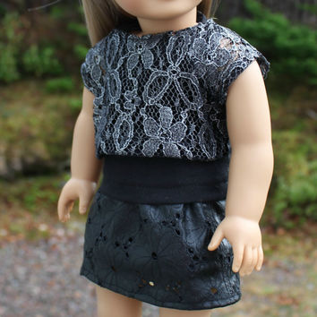 3 piece set!!!  black tank top,silver lace off the shoulder tee and black floral leather look skirt, 18 inch doll clothes