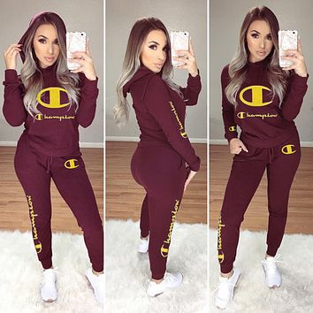 Champion Women Casual Multicolor Letter Pattern Print Long Sleeve Trousers Set Two-Piece Wine red