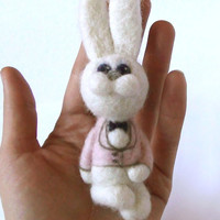 Easter - needle felted rabbit - brooch- felted animal