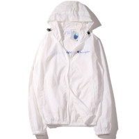 """Champion""new thin men and women sunscreen beach outdoor sports jacket White"