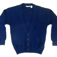 Blue Cable Knit Cardigan - Sweater Navy Blue Button Down Fisherman's Sweater Ivy League Menswear - Men's Size Large Lrg L