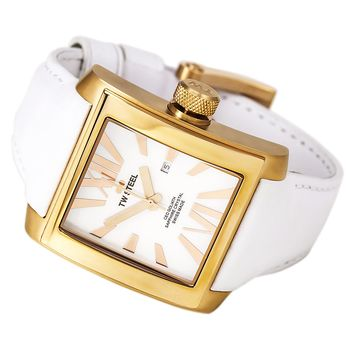 TW Steel CE3016 Men's CEO Goliath MOP Dial Rose Gold Steel White Leather Strap Watch