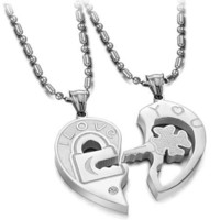 "Stainless Steel Key To My Heart ""I LOVE YOU"" Couples Necklaces 20"""