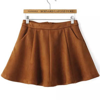 Khaki High Waisted Flare Mini Skirt