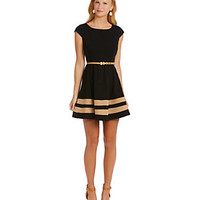 Sequin Hearts Cap-Sleeve Striped-Hem Dress | Dillard's Mobile