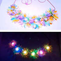 Tie Dye LED RAINBOW  Light Up Daisy Flower Headband, EDC, Flower Crown, Flower Halo, Festival Wear, Electric Daisy Carnival, Rave, Coachella