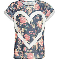 Girls navy floral heart outline t-shirt - t-shirts - t-shirts / vests / tops - girls