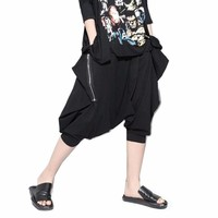 Casual Big Drop Crotch Pants Hip Hop Women Loose Joggers Harem Pants Zipper Cropped Pants