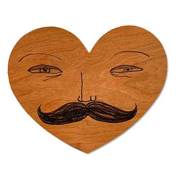 Wood Card Mustache Man