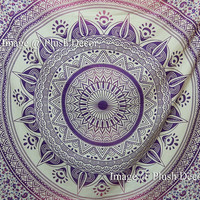 Shopnelo Unique Glorious Unique Color Shade Purple-pink Large Queen Mandala Tapestry (85x94 Inches) Ombre Psychedelic Tapestries Medallion Bohemian Wall Hanging