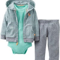 Carter's Baby Boys' 3 Piece Cardigan Set (Baby) - Heather/Green - Heather - 3 Months