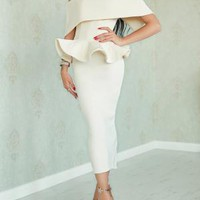 Off Shoulder Bow Peplum Top & Pencil Skirt Set