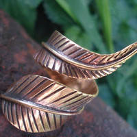 bronze ring feather ring leaf ring forest jewellery by Natureware