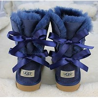UGG: Winter Popular Two Bowknot Leather Warm Snow Boots Boots In Tube Blue I/A