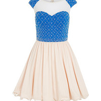 Chi Chi Shell Pink and Blue Beaded Top Skater Dress