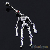 Human Skeleton Belly Button Ring - Goth