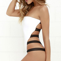 Mia Marcelle Strappy White One Piece Swimsuit