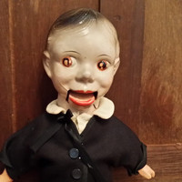 Vintage Ventriloquist Doll With Straw Body and Composition Head Great Creepy Decor