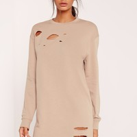 Missguided - Grey Ripped Oversized Sweater Dress