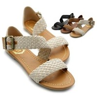 ollio Women's Flats Shoes Braided Side Buckle Accent Multi Color Sandals