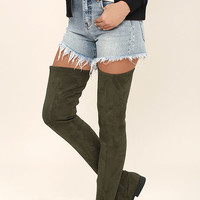 LFL Rank Army Green Suede Thigh High Boots