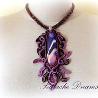 Festive Purple Agate Necklace Holiday Gift Purple Soutache Necklace Oval Shaped Necklace