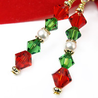 Sparkly Holiday Earrings Gold Tone Red Green Crystals Pearls Christmas