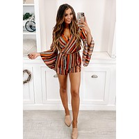 All I Wanna Do Surplice Long Sleeve Romper (Multi)