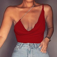 Summer new style slim solid color chain top halter U-neck low-cut camisole Metal chain sholder strap red