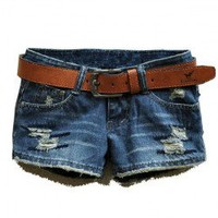 Ripped Denim Shorts with Frayed Edge