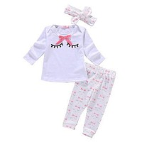 Baby Girls infant clothes baby clothing sets Baby Girls Tops Bow T-shirt+Pants Outfits Clothes Set