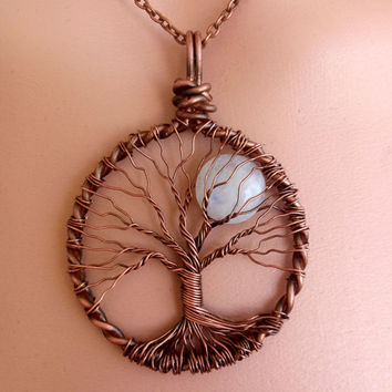RAINBOW MOONSTONE TREE of Life Pendant Full Moon Lunar Jewelry Cooper Patina Wire Jewelry Reclaimed Recycled