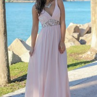 Tea Rose V-Neck Maxi Dress with Lace