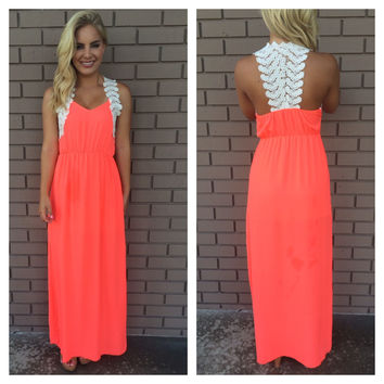 Greek Goddess Crochet Maxi Dress- NEON CORAL