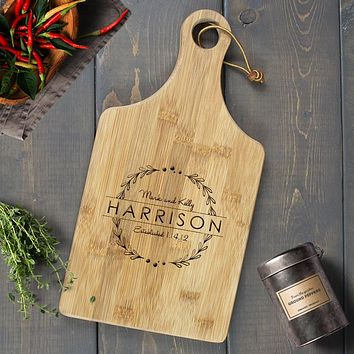 Personalized Engraved Paddle Cutting Board, Bamboo - CB10