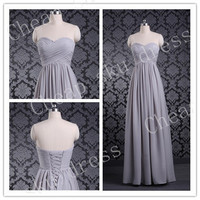 Long Evening Dresses A-line Sweetheart Ruffle Cheap Lace-up Long Bridesmaid Dress Party Dress Evening Dress Prom Dress Formal Dress 2014
